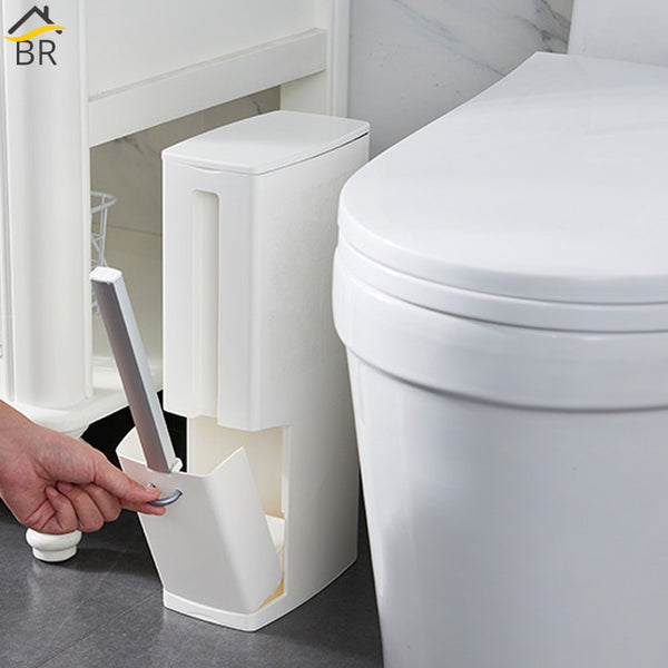 6L Narrow Bathroom Trash Can Wastebasket with Toilet Brush - Way Up Gifts
