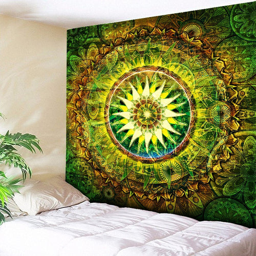 Large Wall Hanging Mandala Decorative Green Yellow Tapestry Art Decor Blanket (High-Definition Fabric)