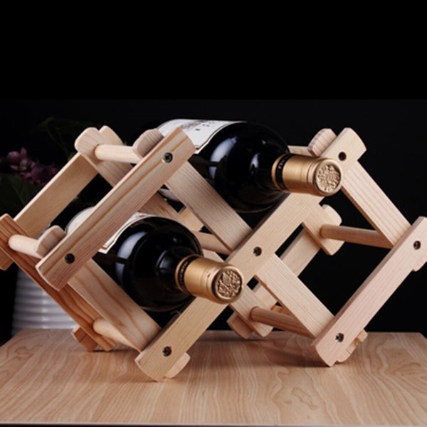 Wooden Wine Rack Storage Holder (3 Bottles, Foldable) - Way Up Gifts