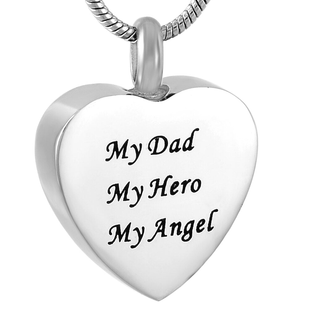 My Dad My Hero My Angel Cremation Jewelry Urn Necklace Memorial Ashes