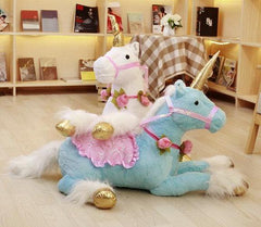 Giant Stuffed Animal Unicorn Pony Plush w/ Flowers