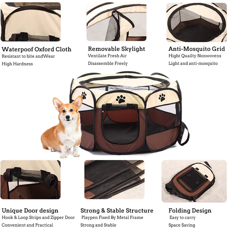 Portable Pet Crate Playpen (Foldable Mesh Water Resistant Indoor/Outdoor) - Way Up Gifts