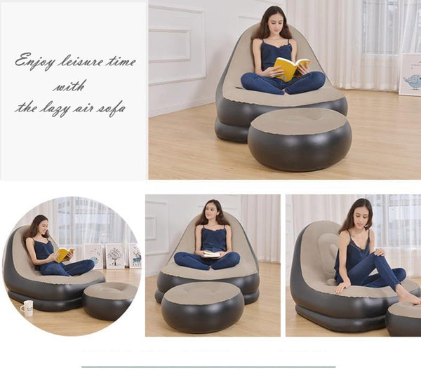Inflatable Sofa Chair Lounger with Ottoman Foot Stool - Way Up Gifts