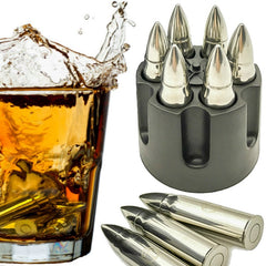 Bullet Whiskey Stones Ice Cubes Rocks Set (Stainless Steel)