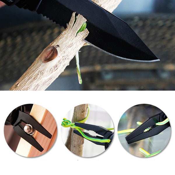 Premium EDC Outdoor Survival Folding Pocket Tool / Pliers Multitool with Screwdriver Kit Knife Bottle Opener - Way Up Gifts