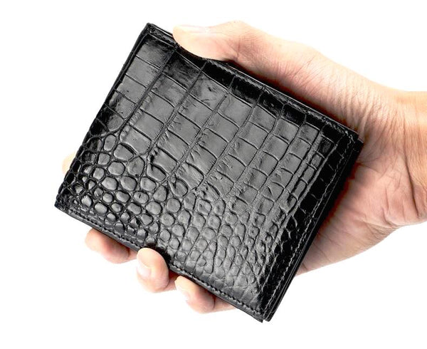 Genuine Crocodile Skin Leather Men's Bifold Wallet & Card Holder
