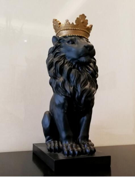 Resin Lion Statue Sculpture with Crown - Way Up Gifts