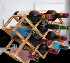 Wooden Wine Rack Storage Holder (10 Bottles, Foldable)