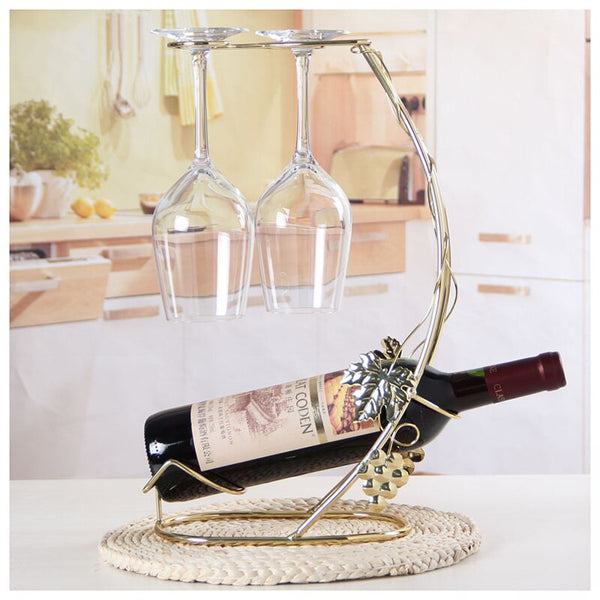 Grape Leaves Metal Wine Rack Glass Bottle Holder - Way Up Gifts