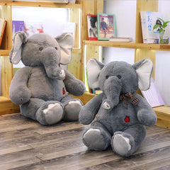 Big Stuffed Elephant Plush Animal with Rose Embroidery