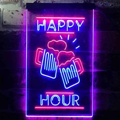 Beer Mugs Cheers Happy Hour LED Neon Light Sign