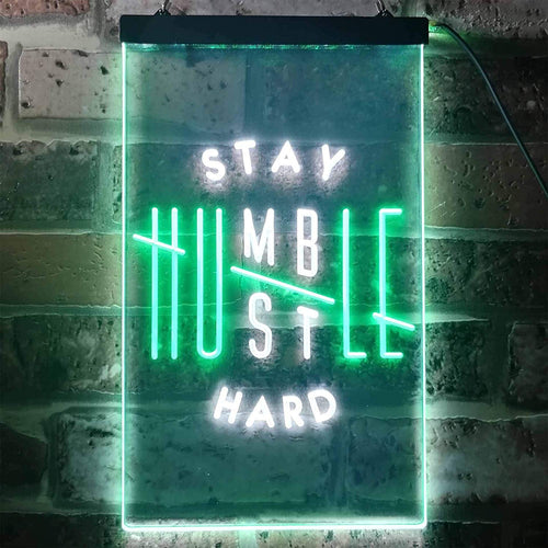 Motivational Quote Stay Humble Hustle Hard LED Neon Light Sign