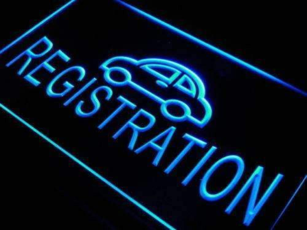 Auto Car Registration Neon Sign (LED)-Way Up Gifts