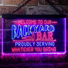 Backyard Bar Welcome Home Bar LED Neon Light Sign