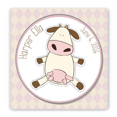 Personalized Baby Cow Nursery Canvas Sign
