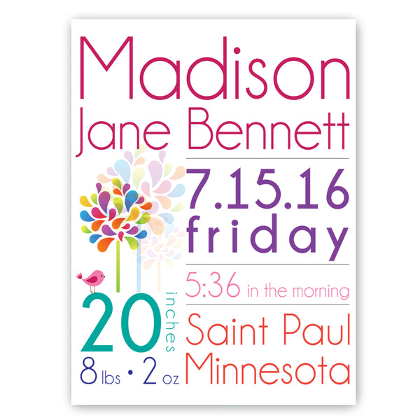 Personalized Baby Girl Announcement Canvas Sign - Way Up Gifts