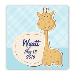 Personalized Baby Nursery Canvas Sign - Baby Boy Giraffe
