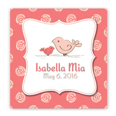 Personalized Baby Nursery Canvas Sign - Birdies