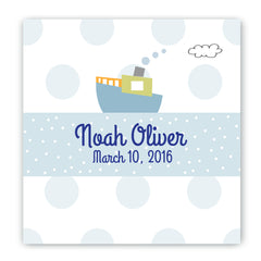 Personalized Baby Nursery Canvas Sign - Boat