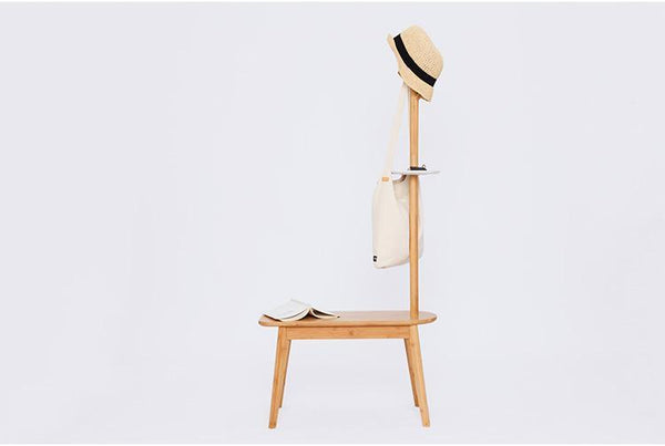Bamboo Coat Rack and Stool
