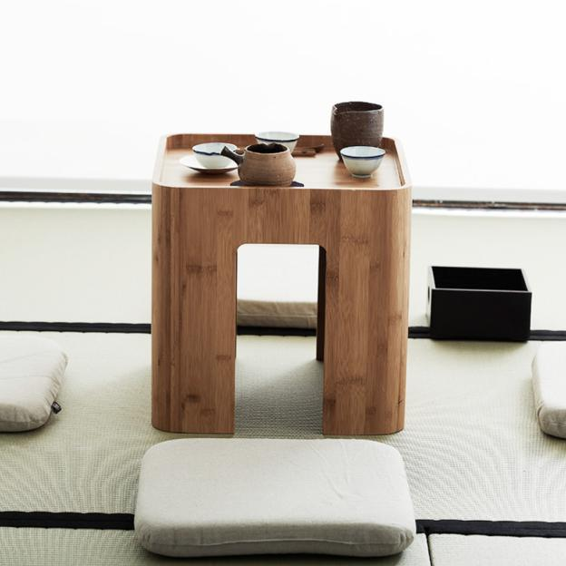 Handcrafted Bamboo Multi Function Tea/Coffee Table w/ Four Cushions - Way Up Gifts