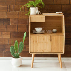 Bamboo Nightstand Multi Function Storage Drawer Cabinet