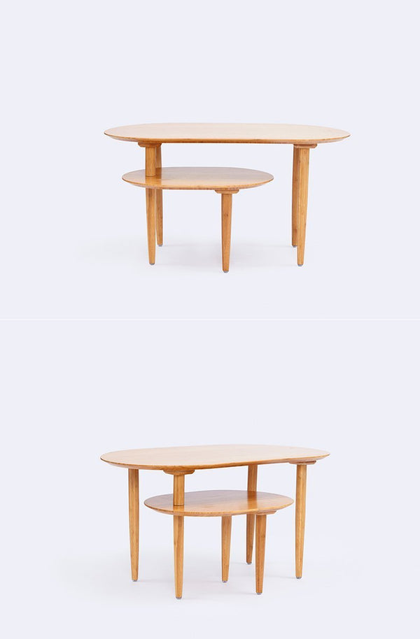 Bamboo Rotating Double Coffee Table