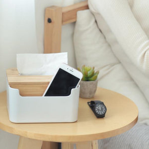 Bamboo Tissue Box and Phone Holder