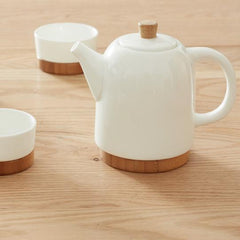 Handcrafted Bamboo/Ceramic Teapot Set