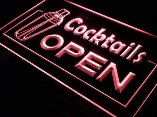 Bar Cocktails Open Neon Sign (LED)-Way Up Gifts