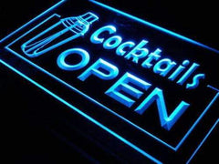 Bar Cocktails Open LED Neon Light Sign