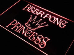 Beer Pong Princess LED Neon Light Sign