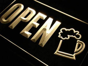 Beer Pub Bar Open Neon Sign (LED)-Way Up Gifts