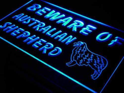 Beware of Australian Shepherd Neon Sign (LED)-Way Up Gifts