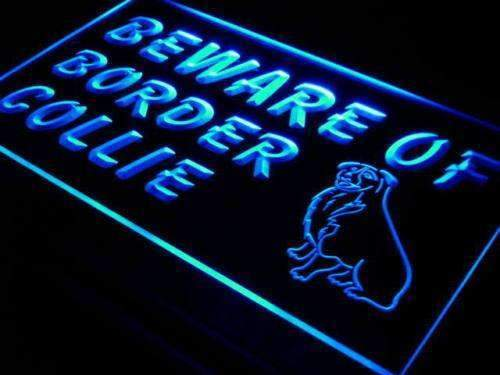 Beware of Border Collie Neon Sign (LED)-Way Up Gifts