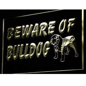 Beware of Bulldog Neon Sign (LED)-Way Up Gifts