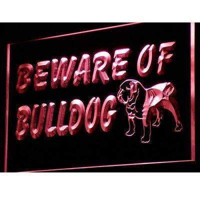 Beware of Bulldog Neon Sign (LED)