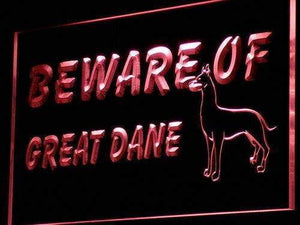 Beware of Great Dane Neon Sign (LED)