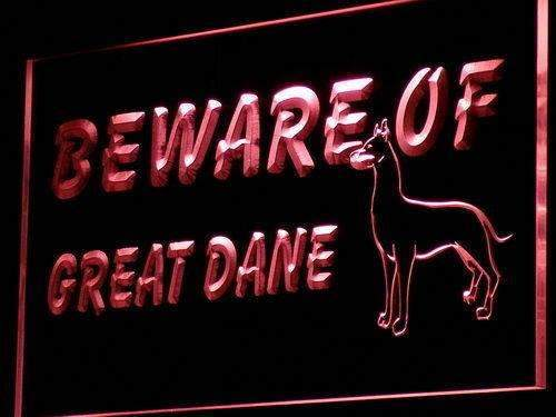 Beware of Great Dane LED Neon Light Sign