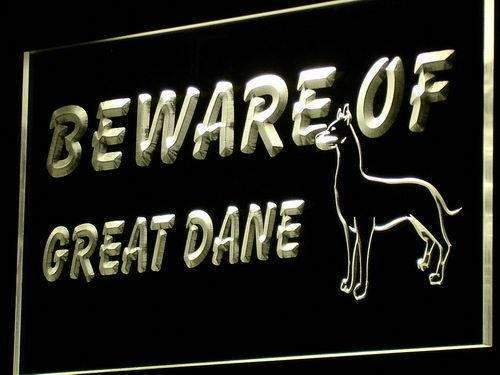 Beware of Great Dane LED Neon Light Sign  Business > LED Signs > Dog Neon Signs - Way Up Gifts