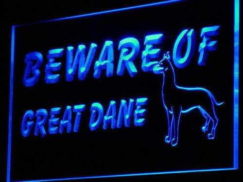 Beware of Great Dane Neon Sign (LED)-Way Up Gifts