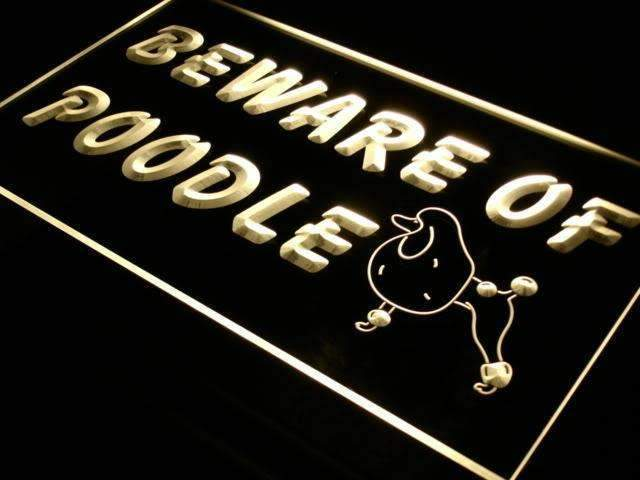 Beware of Poodle LED Neon Light Sign - Way Up Gifts