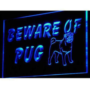 Beware of Pug Neon Sign (LED)-Way Up Gifts