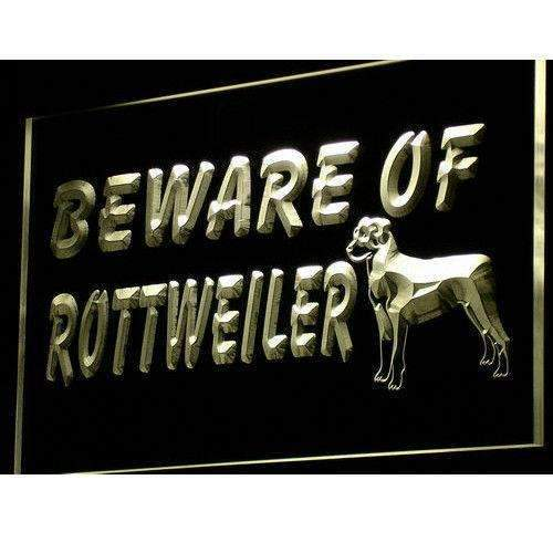 Beware of Rottweiler LED Neon Light Sign - Way Up Gifts