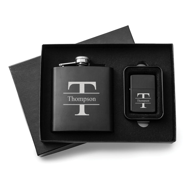 Engraved Black Flask & Lighter Gift Box - Way Up Gifts