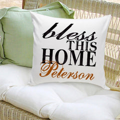 Personalized Bless This Home Throw Pillow