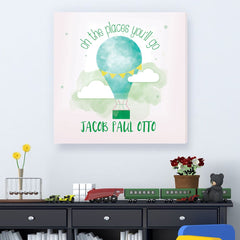 Personalized The Places You'll Go Kids Canvas – Boy Hot Air Balloon