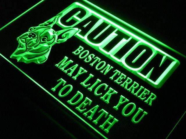 Caution Boston Terrier LED Neon Light Sign - Way Up Gifts
