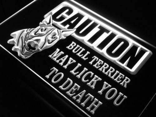Caution Bull Terrier LED Neon Light Sign - Way Up Gifts