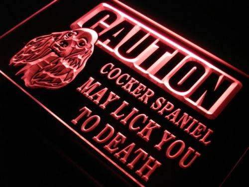 Caution Cocker Spaniel LED Neon Light Sign - Way Up Gifts